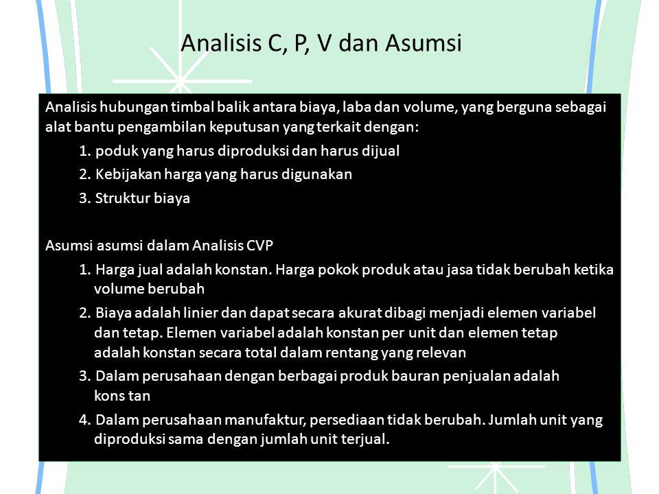 Analisis C, P, V dan Asumsi