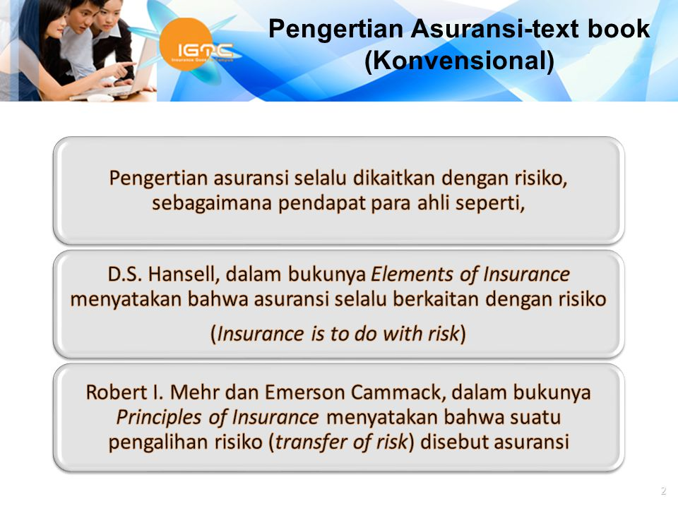 Pengertian Asuransi-text book (Konvensional)