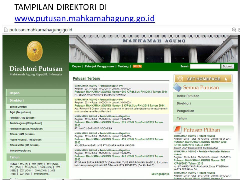 TAMPILAN DIREKTORI DI www.putusan.mahkamahagung.go.id
