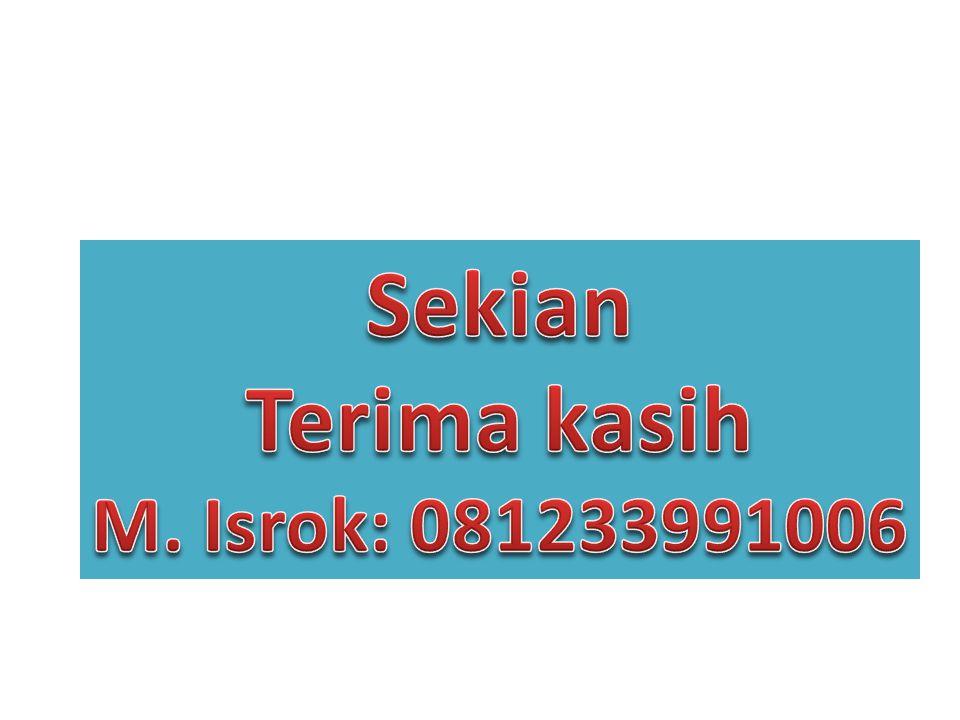 Sekian Terima kasih M. Isrok: 081233991006