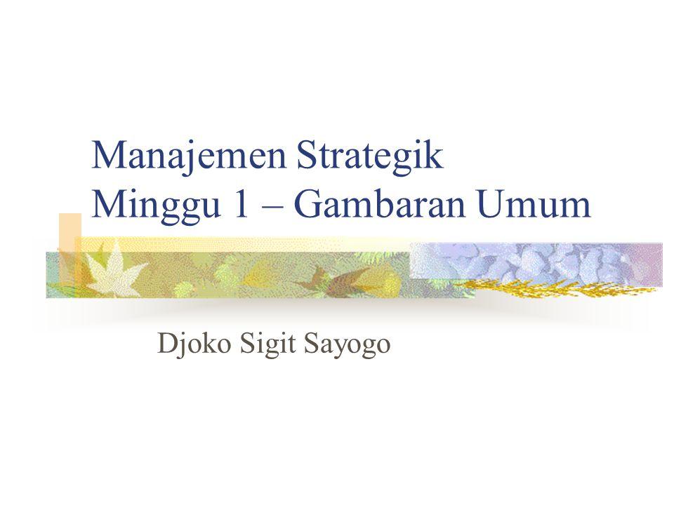 Manajemen Strategik Minggu 1 – Gambaran Umum