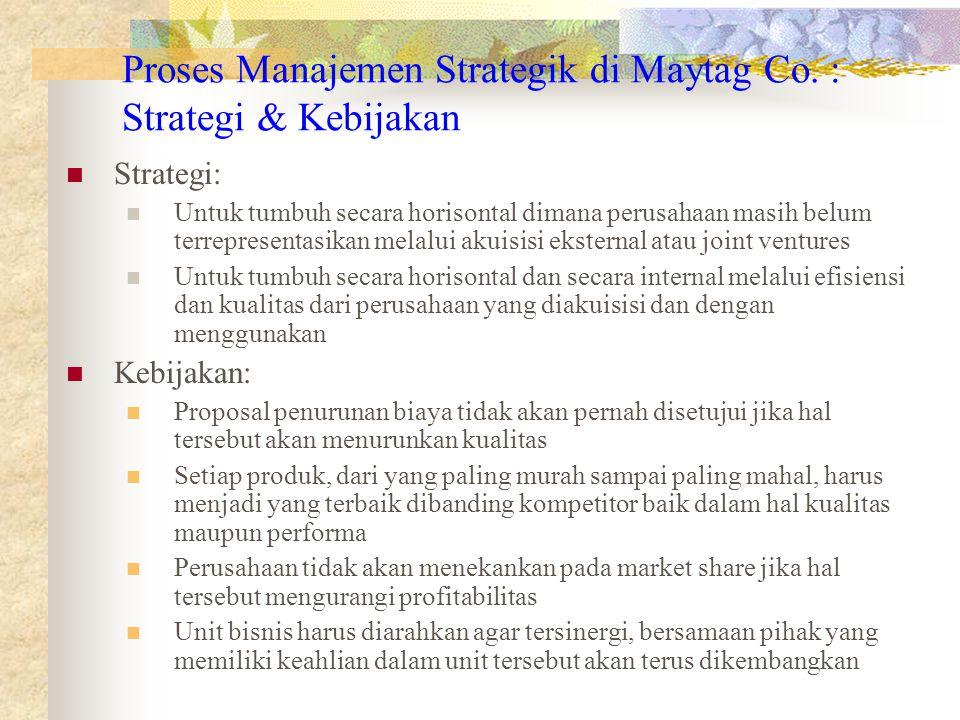 Proses Manajemen Strategik di Maytag Co. : Strategi & Kebijakan