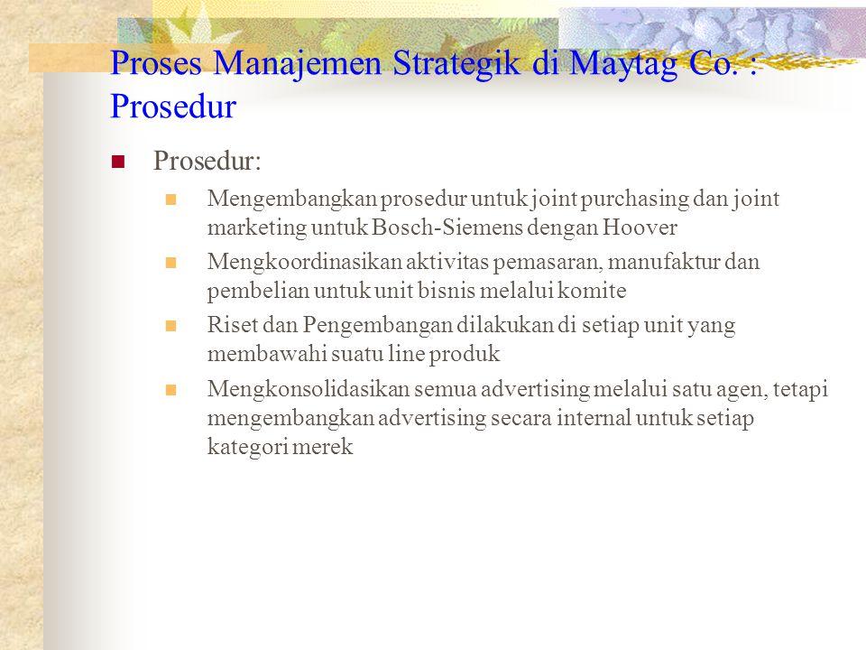 Proses Manajemen Strategik di Maytag Co. : Prosedur
