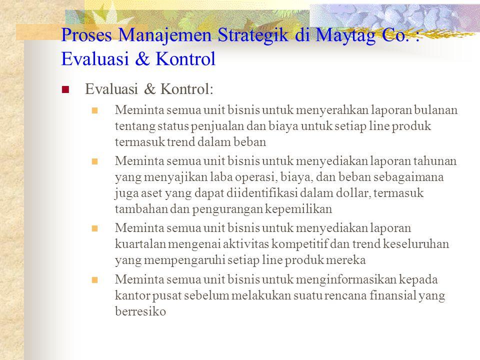 Proses Manajemen Strategik di Maytag Co. : Evaluasi & Kontrol