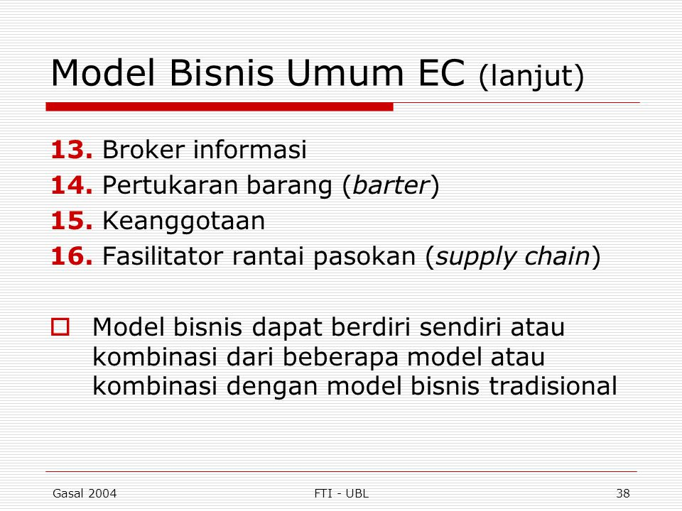 Model Bisnis Umum EC (lanjut)