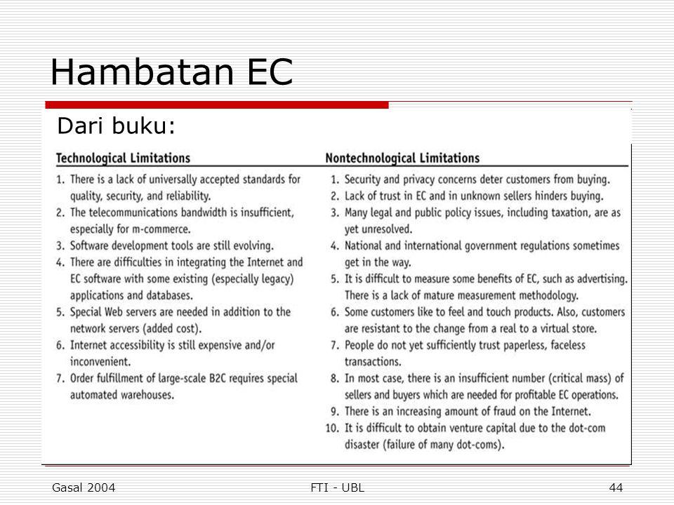 Hambatan EC Dari buku: Gasal 2004 FTI - UBL