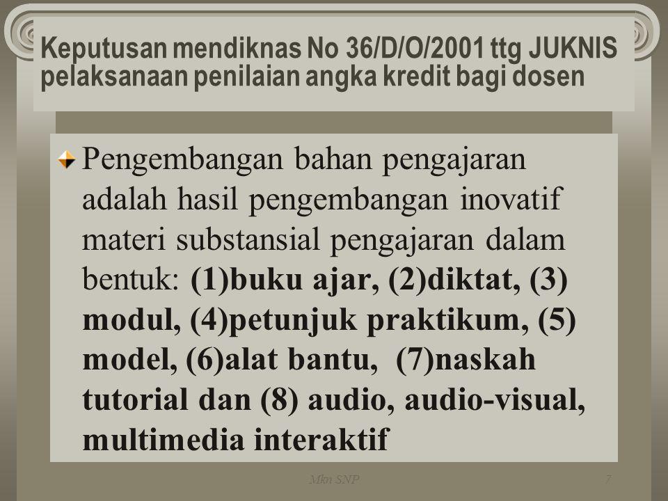 Keputusan mendiknas No 36/D/O/2001 ttg JUKNIS pelaksanaan penilaian angka kredit bagi dosen