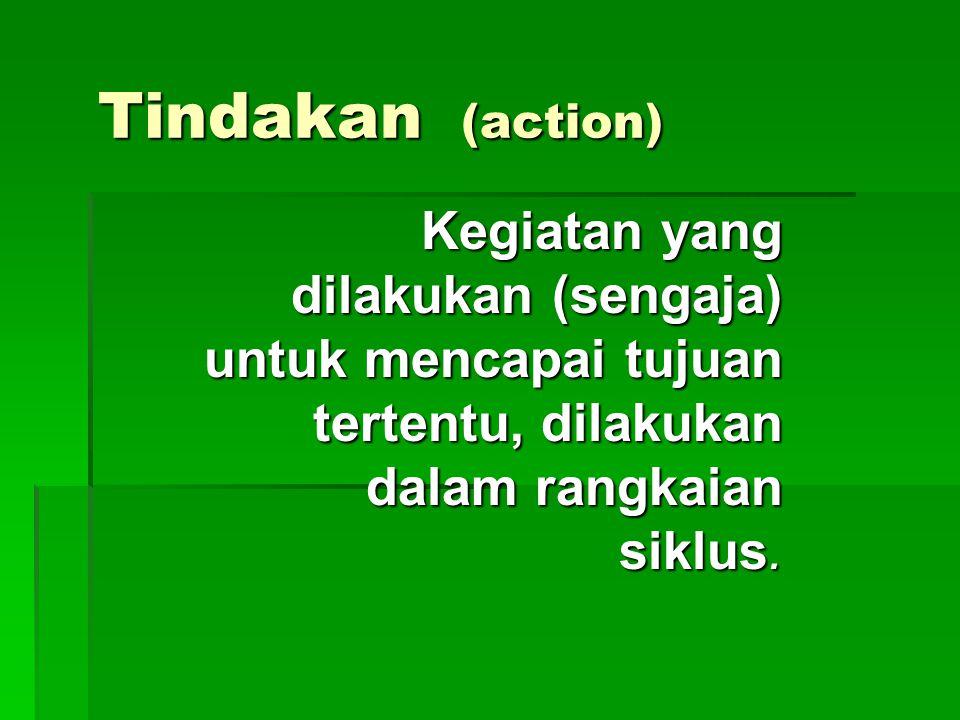 Tindakan (action) Kegiatan yang dilakukan (sengaja) untuk mencapai tujuan tertentu, dilakukan dalam rangkaian siklus.