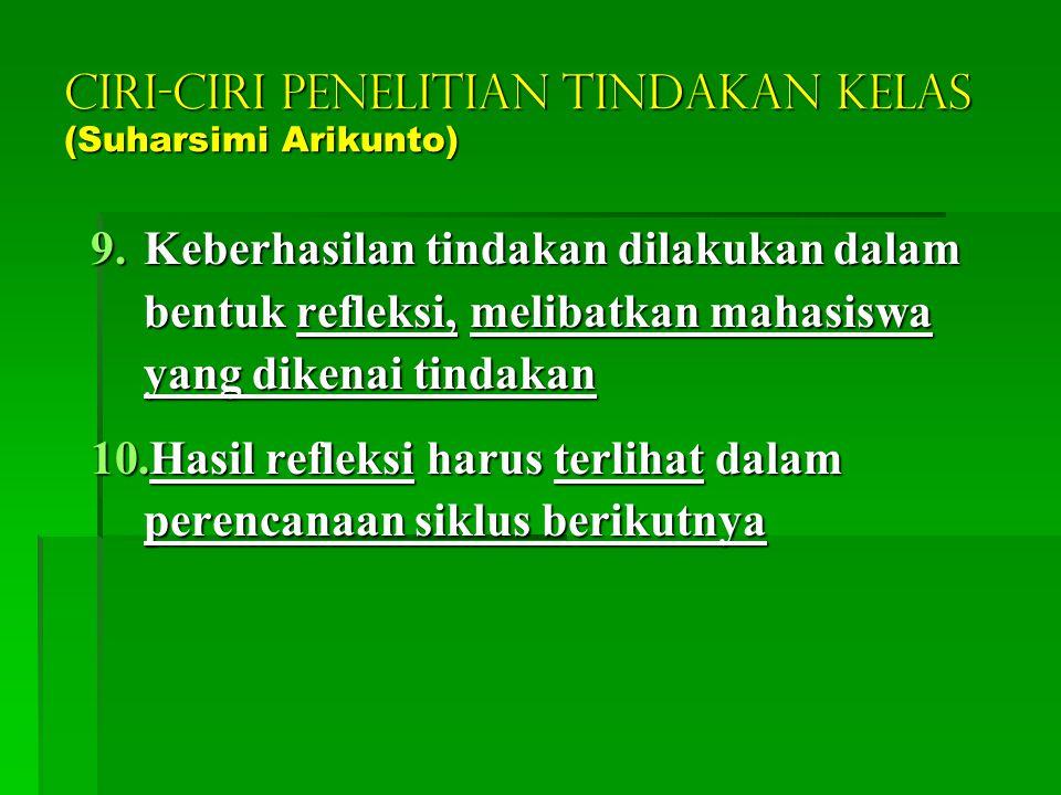CIRI-CIRI PENELITIAN TINDAKAN KELAS (Suharsimi Arikunto)