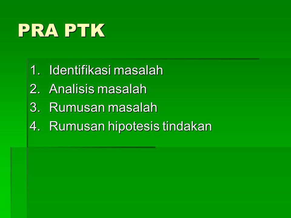 PRA PTK Identifikasi masalah Analisis masalah Rumusan masalah