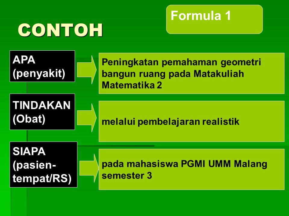 CONTOH Formula 1 APA (penyakit) TINDAKAN (Obat) SIAPA (pasien-