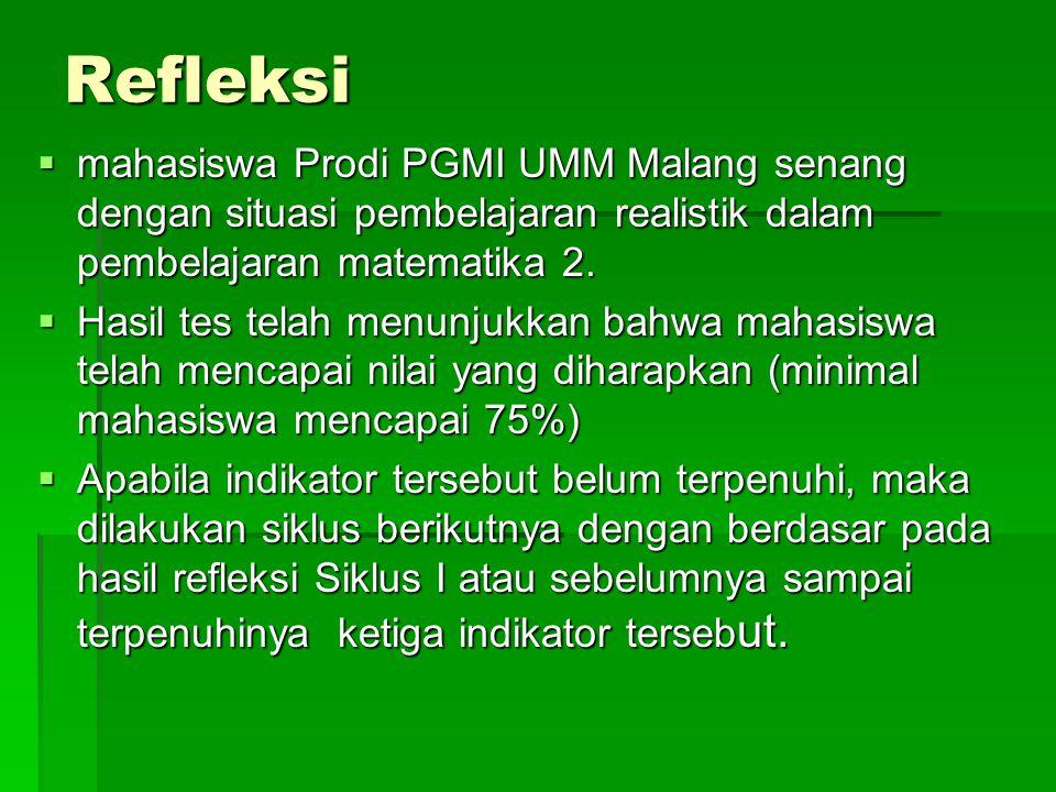 Refleksi mahasiswa Prodi PGMI UMM Malang senang dengan situasi pembelajaran realistik dalam pembelajaran matematika 2.
