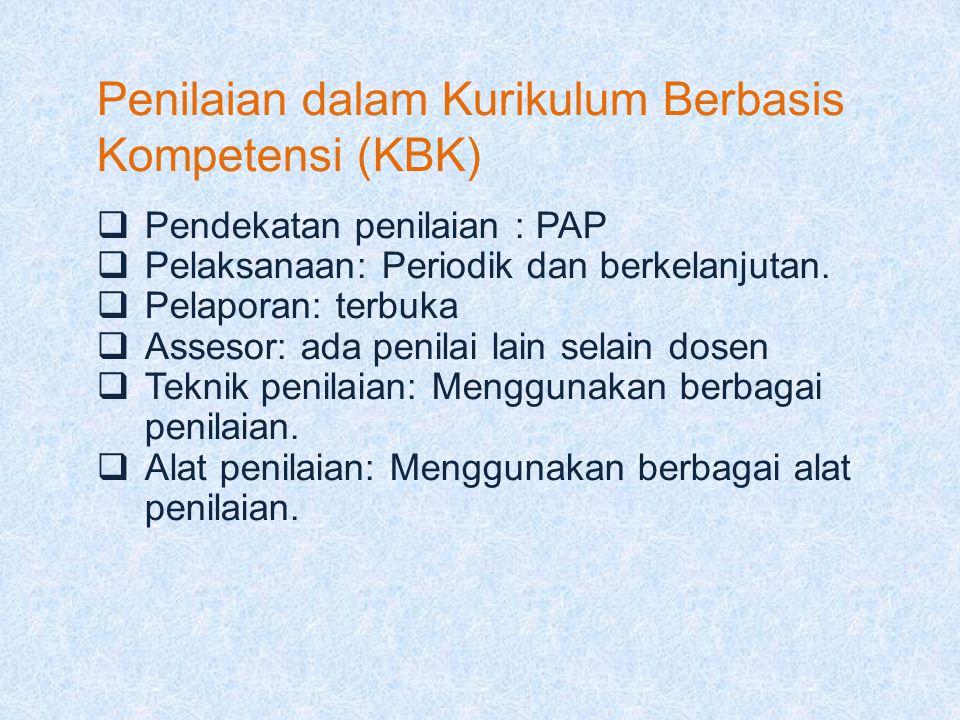 Penilaian dalam Kurikulum Berbasis Kompetensi (KBK)