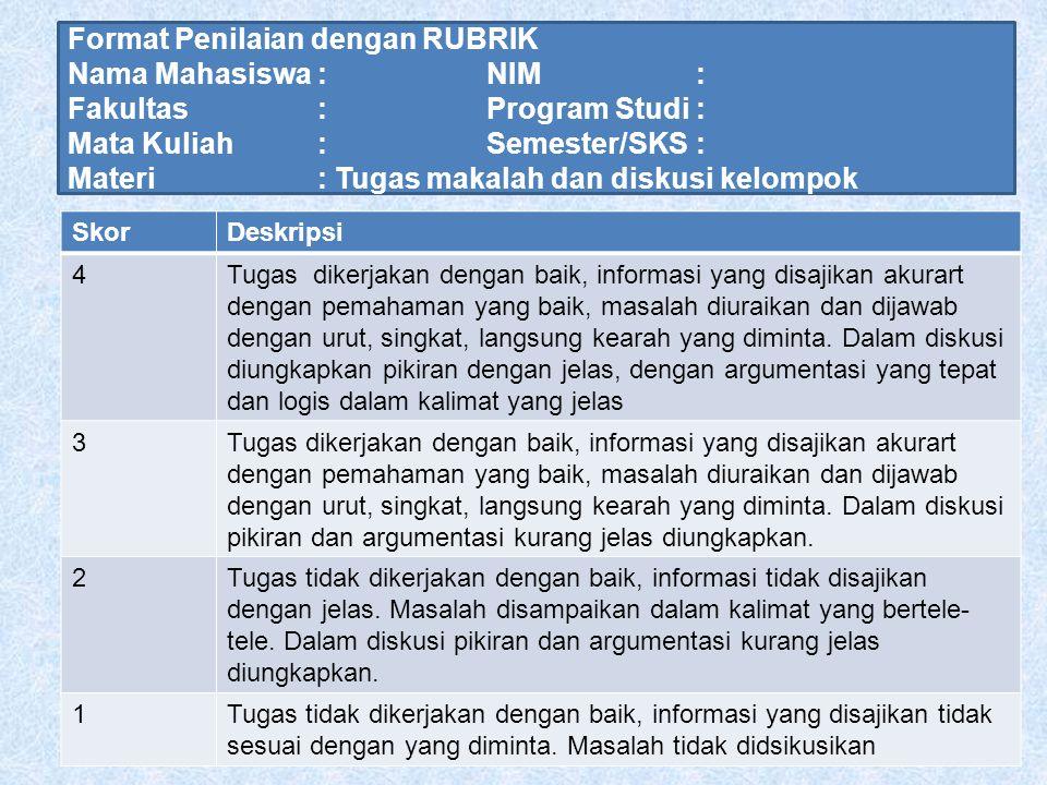 Format Penilaian dengan RUBRIK Nama Mahasiswa : NIM :