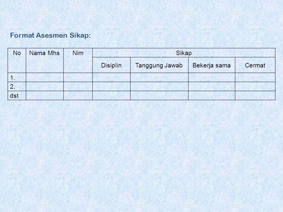 Format Asesmen Sikap: No Nama Mhs Nim Sikap Disiplin Tanggung Jawab