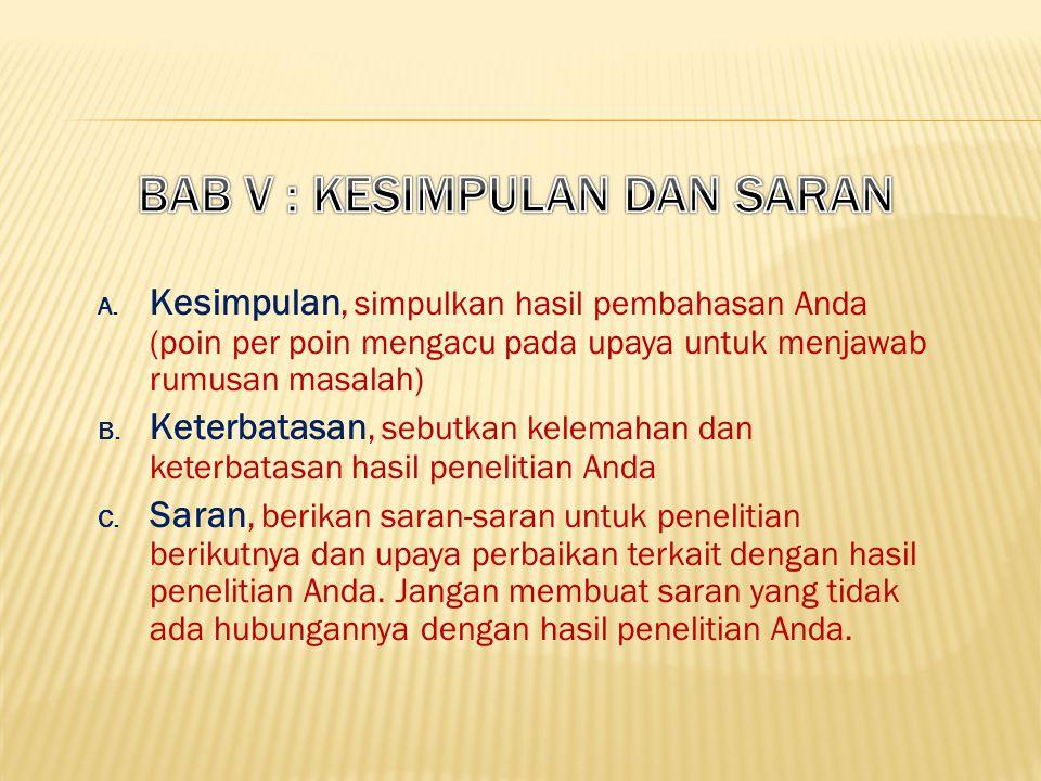 BAB V : KESIMPULAN DAN SARAN