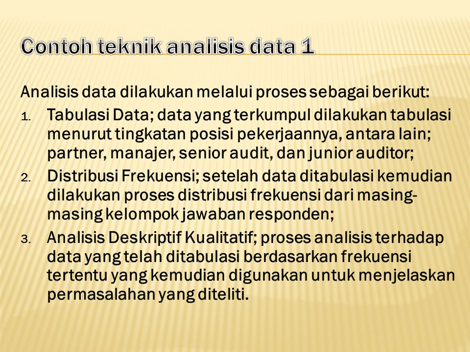Contoh teknik analisis data 1