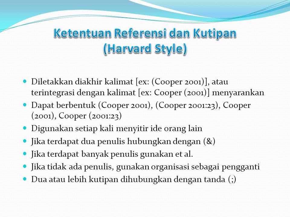 Ketentuan Referensi dan Kutipan (Harvard Style)