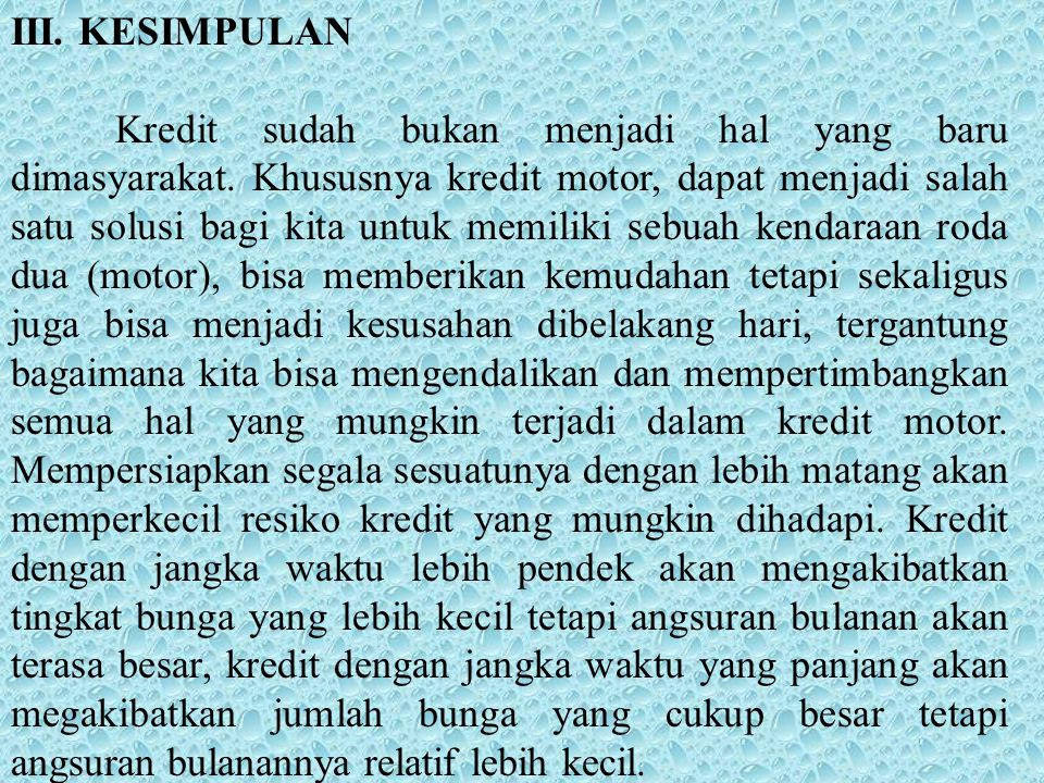 III. KESIMPULAN