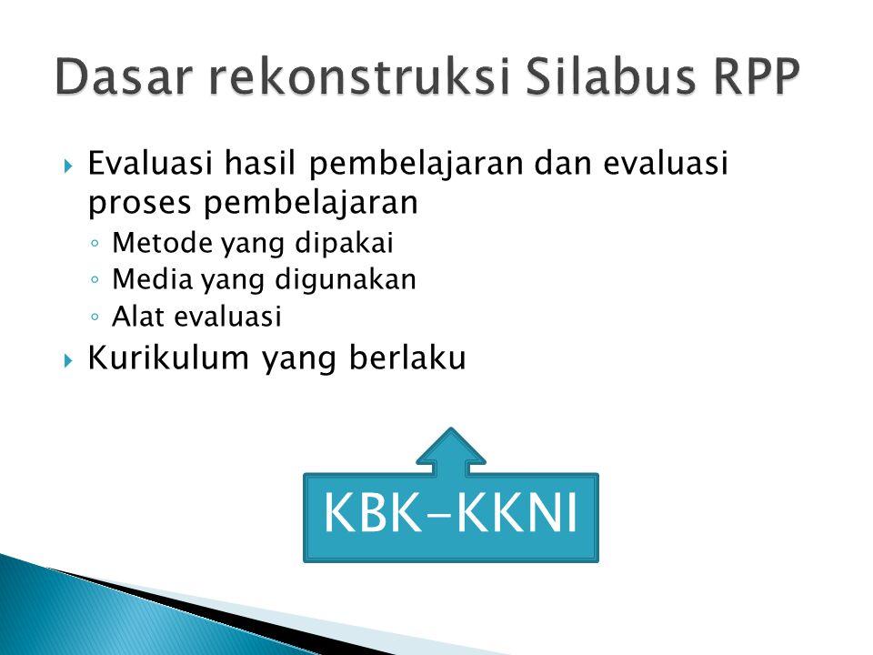 Dasar rekonstruksi Silabus RPP
