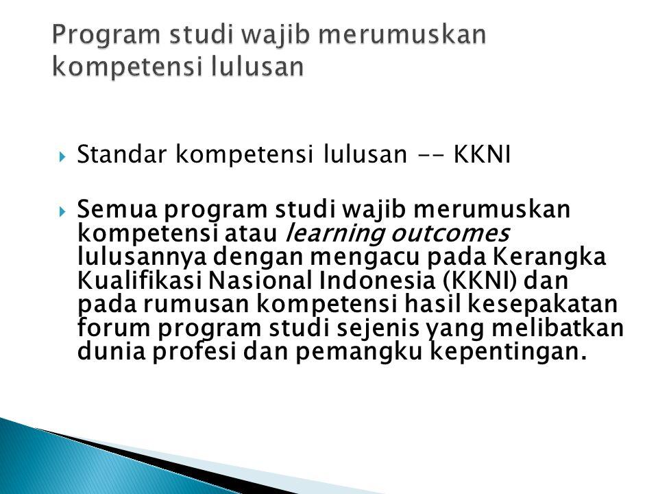 Program studi wajib merumuskan kompetensi lulusan