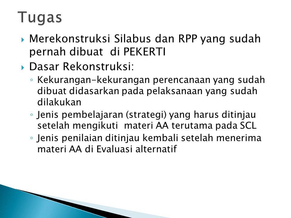 Tugas Merekonstruksi Silabus dan RPP yang sudah pernah dibuat di PEKERTI. Dasar Rekonstruksi: