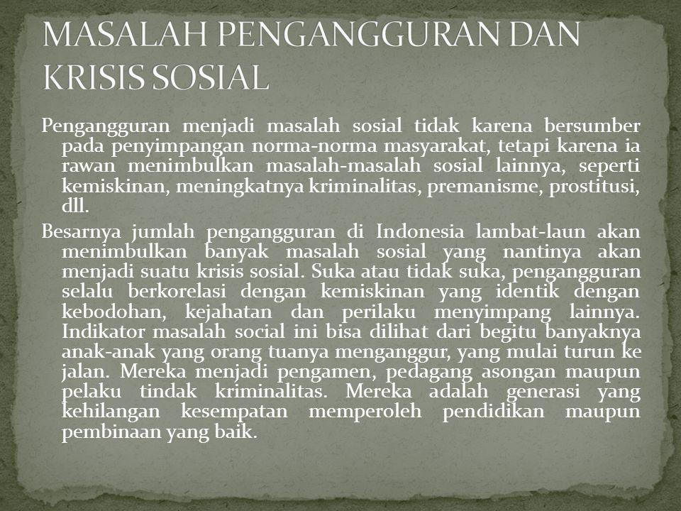 MASALAH PENGANGGURAN DAN KRISIS SOSIAL