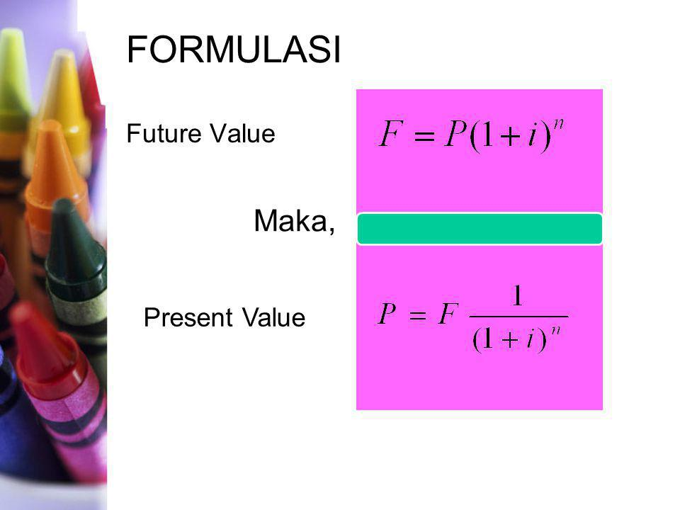 FORMULASI Future Value Maka, Present Value