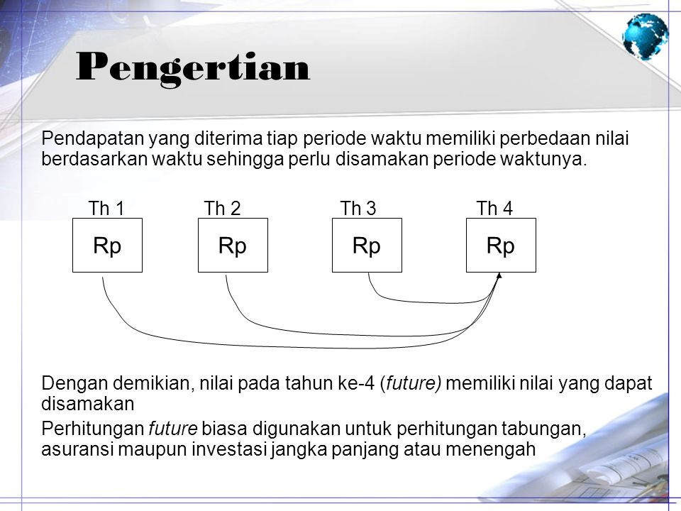 Pengertian Pendapatan yang diterima tiap periode waktu memiliki perbedaan nilai berdasarkan waktu sehingga perlu disamakan periode waktunya.