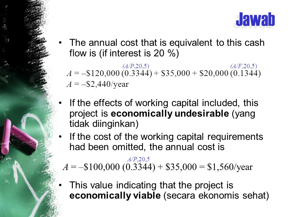 Jawab The annual cost that is equivalent to this cash flow is (if interest is 20 %)