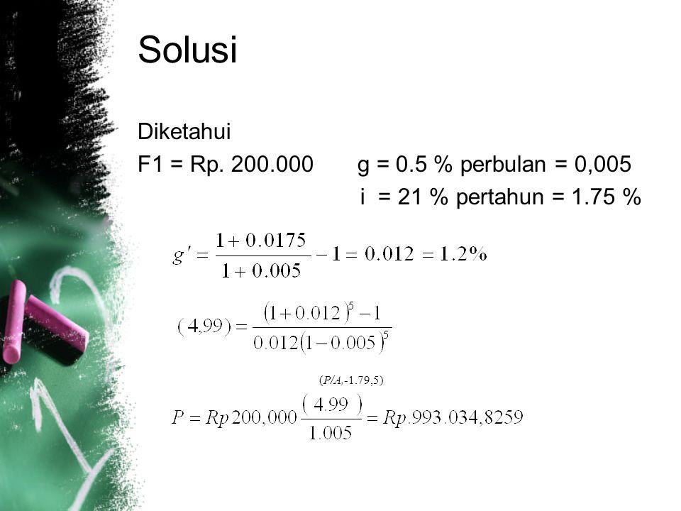 Solusi Diketahui F1 = Rp.