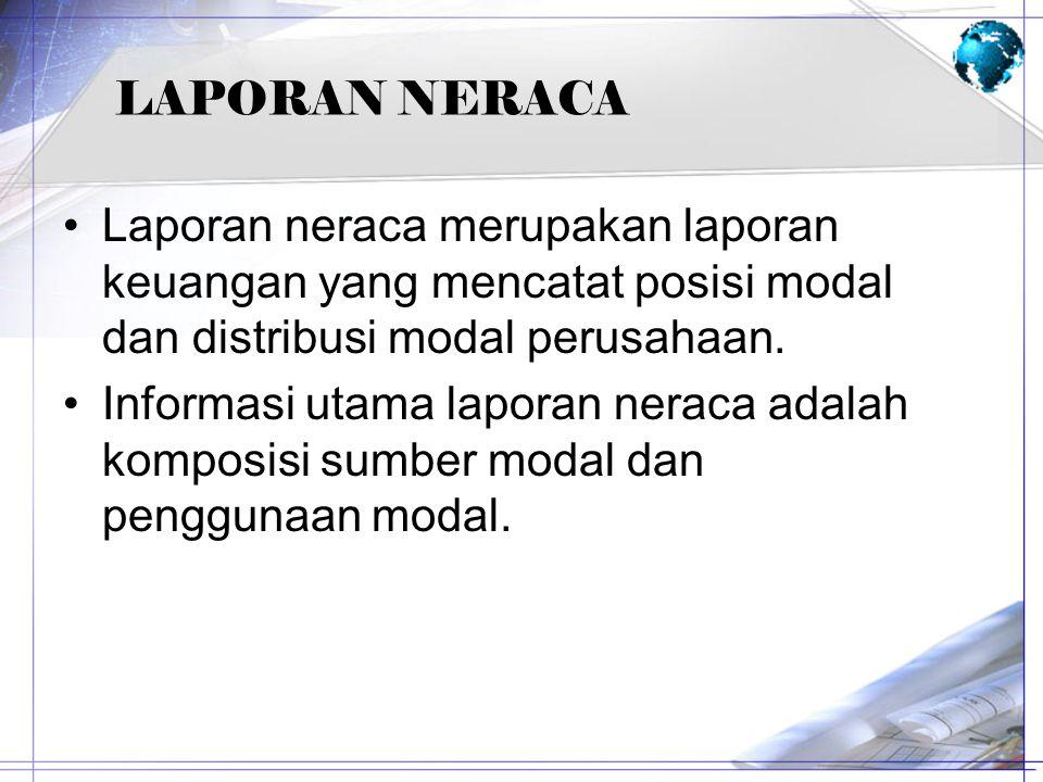 LAPORAN NERACA Laporan neraca merupakan laporan keuangan yang mencatat posisi modal dan distribusi modal perusahaan.