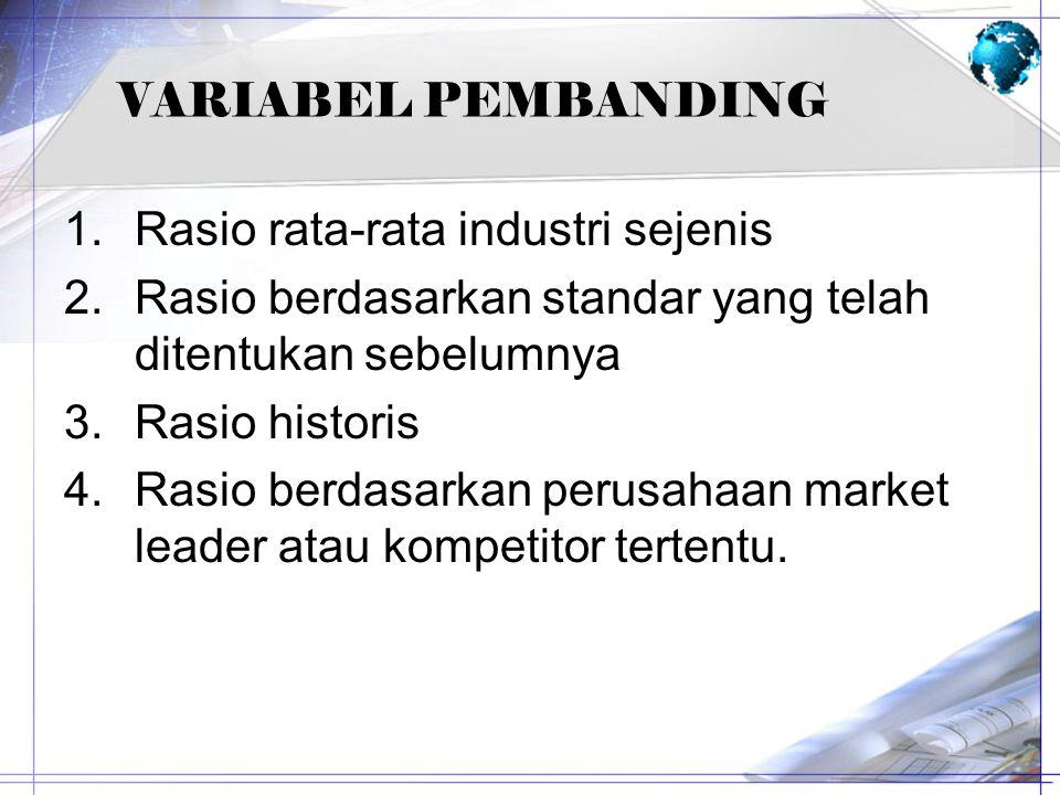 VARIABEL PEMBANDING Rasio rata-rata industri sejenis. Rasio berdasarkan standar yang telah ditentukan sebelumnya.
