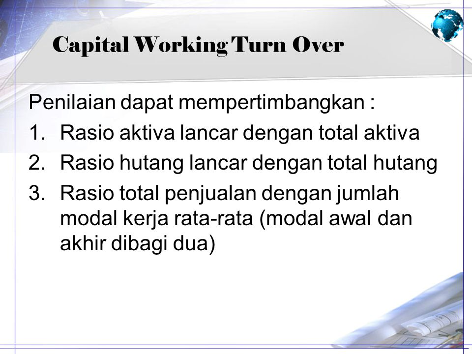 Capital Working Turn Over