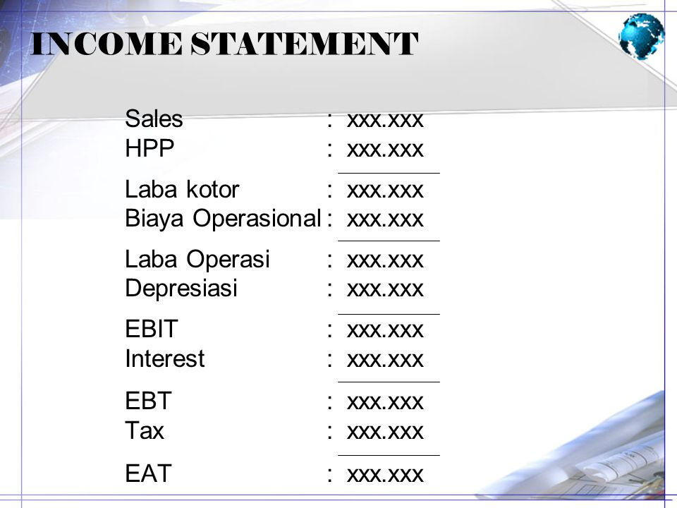 INCOME STATEMENT Sales : xxx.xxx HPP : xxx.xxx Laba kotor : xxx.xxx