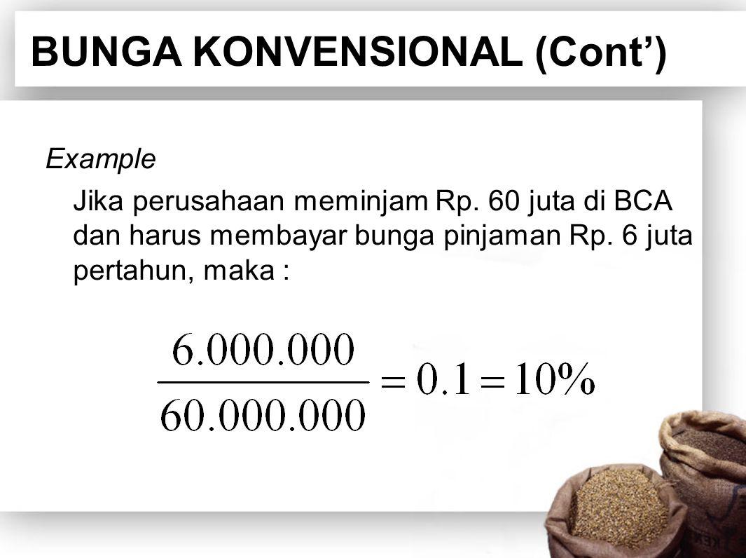 BUNGA KONVENSIONAL (Cont')