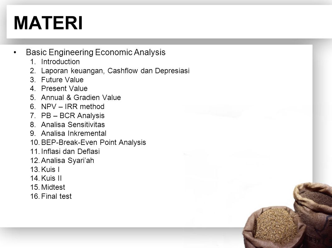 MATERI Basic Engineering Economic Analysis Introduction