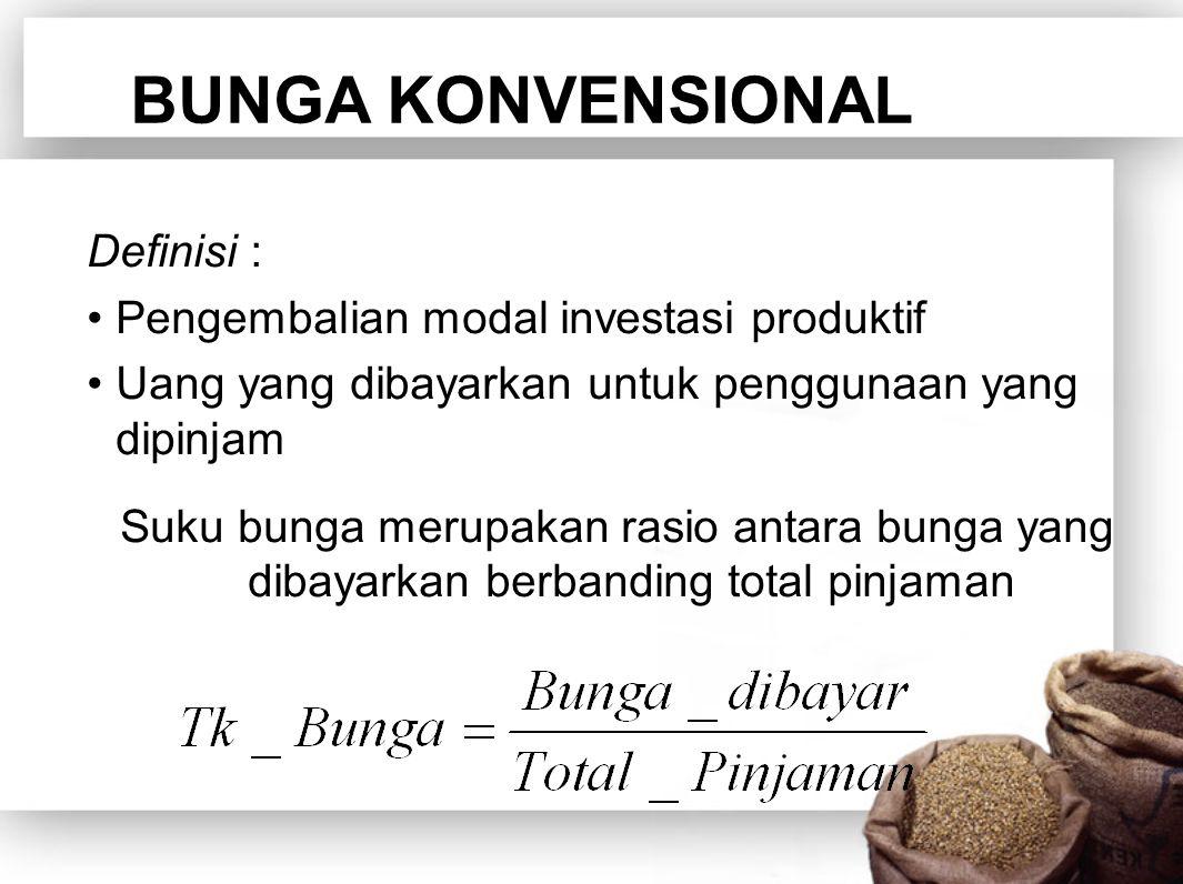 BUNGA KONVENSIONAL Definisi : Pengembalian modal investasi produktif