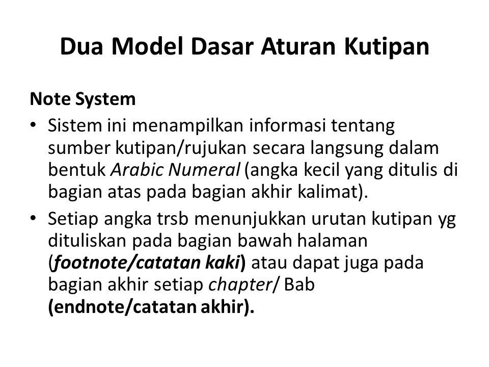 Dua Model Dasar Aturan Kutipan
