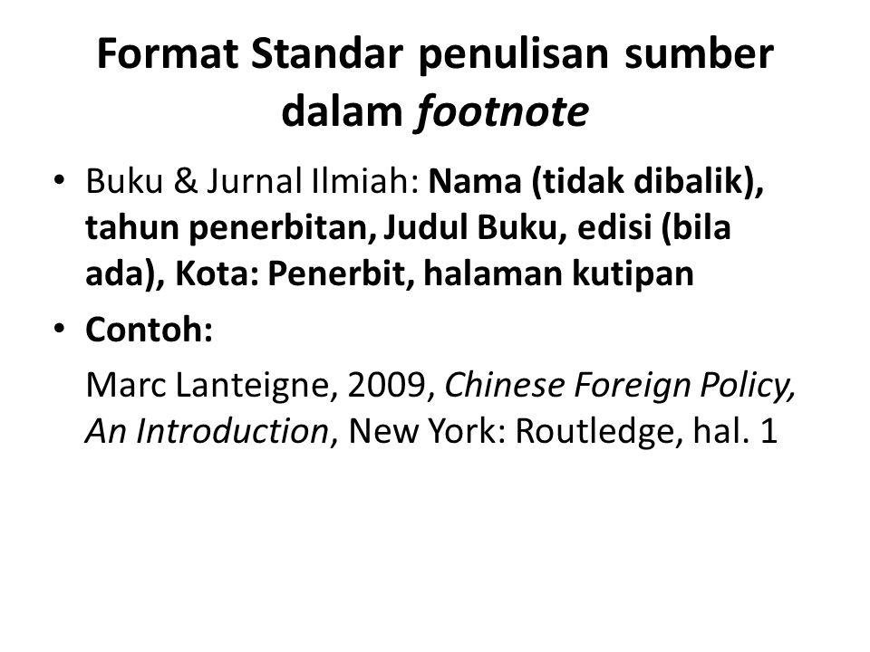 Format Standar penulisan sumber dalam footnote
