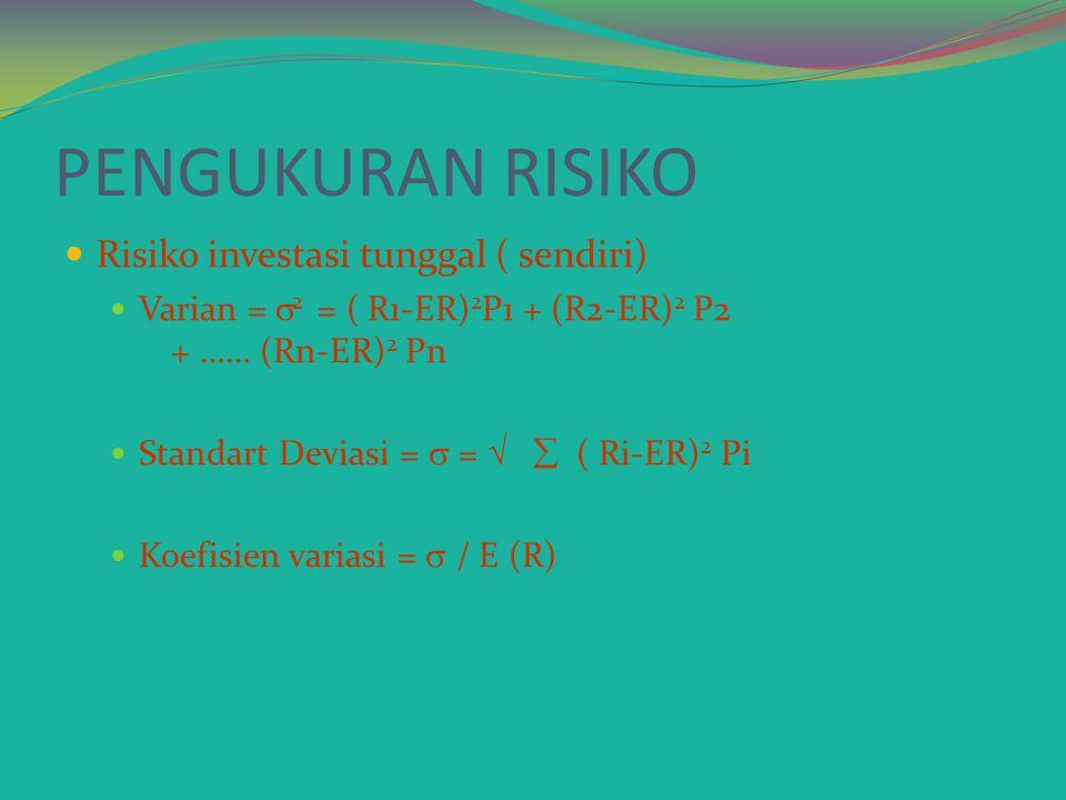 PENGUKURAN RISIKO Risiko investasi tunggal ( sendiri)