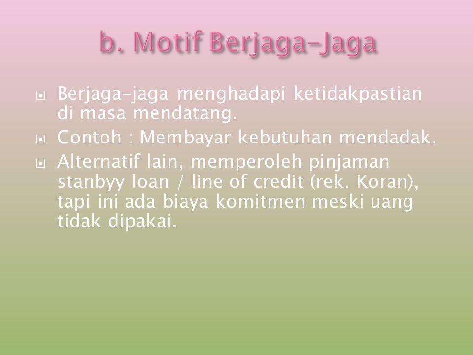b. Motif Berjaga-Jaga Berjaga-jaga menghadapi ketidakpastian di masa mendatang. Contoh : Membayar kebutuhan mendadak.