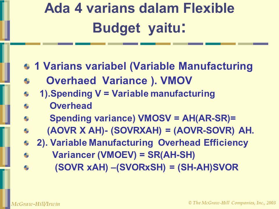 Ada 4 varians dalam Flexible Budget yaitu: