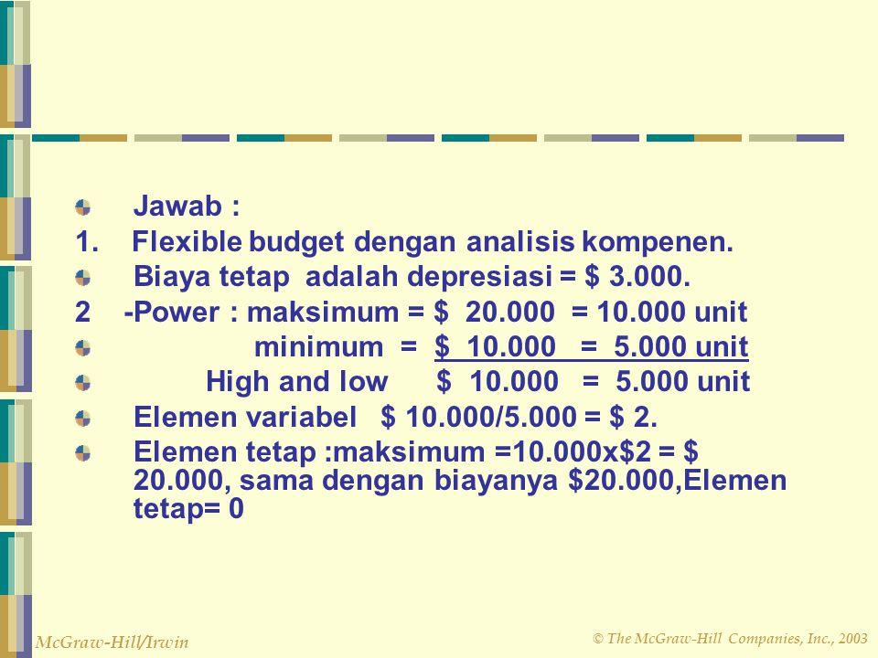 Jawab : 1. Flexible budget dengan analisis kompenen. Biaya tetap adalah depresiasi = $ 3.000. 2 -Power : maksimum = $ 20.000 = 10.000 unit.