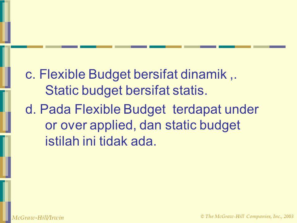 c. Flexible Budget bersifat dinamik ,. Static budget bersifat statis.