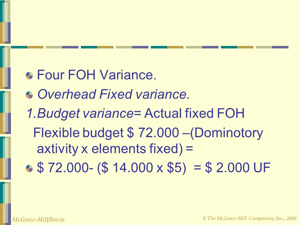 Four FOH Variance. Overhead Fixed variance. 1.Budget variance= Actual fixed FOH. Flexible budget $ 72.000 –(Dominotory axtivity x elements fixed) =
