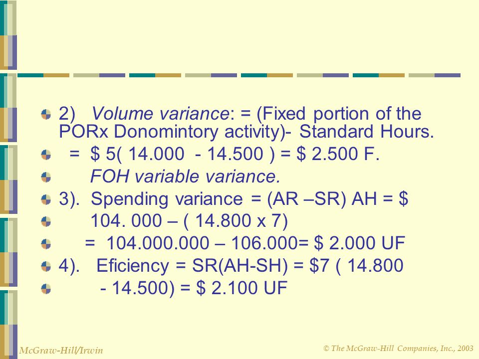 2) Volume variance: = (Fixed portion of the PORx Donomintory activity)- Standard Hours.