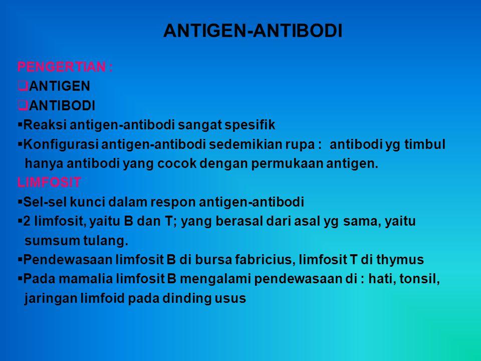 ANTIGEN-ANTIBODI PENGERTIAN : ANTIGEN ANTIBODI
