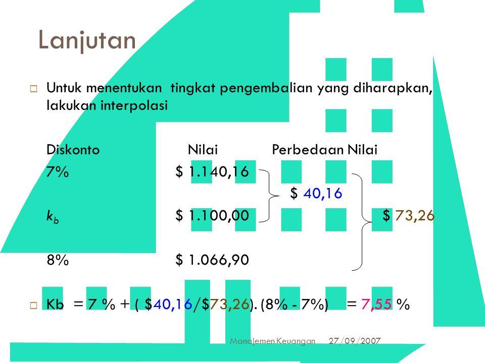 Lanjutan Untuk menentukan tingkat pengembalian yang diharapkan, lakukan interpolasi. Diskonto Nilai Perbedaan Nilai.