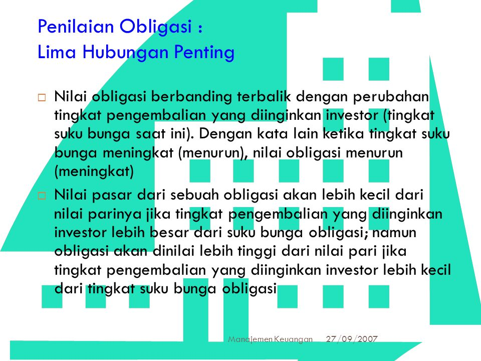 Penilaian Obligasi : Lima Hubungan Penting